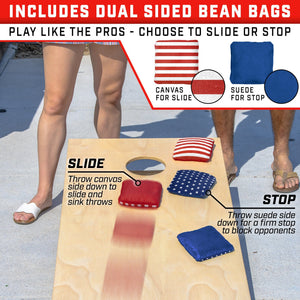 GoSports America Dual Sided Cornhole Bean Bags | Slide & Stop Regulation Tournament Bean Bags Set of 8 Cornhole playgosports.com