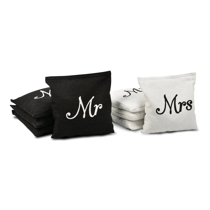 GoSports Wedding Theme Cornhole Bag Set | Includes 4 Black 'Mr' Bags and 4 White 'Mrs' Bags