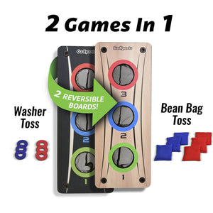 GoSports Multi 2-in-1 Bean Bag Toss & Washer Toss Combo Outdoor Game - Fun for Kids & Adults - Includes 2 Double Sided Game Boards, 6 Washers, 6 Bean Bags, Carry Case Cornhole playgosports.com