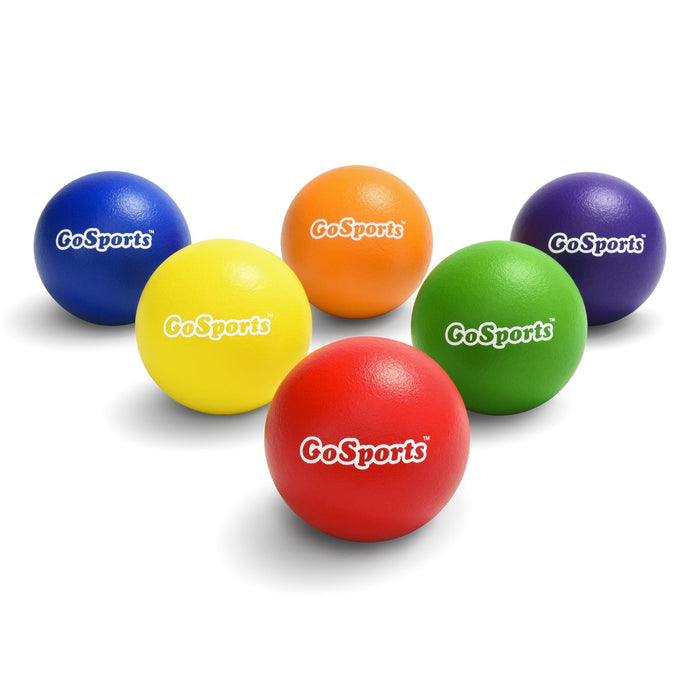 GoSports Soft Skin Foam Playground Dodgeballs - 6 Pack for Juniors/Adults (7 in)