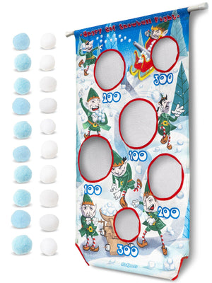 GoSports Angry Elf Snowball Fight Toss Game | Includes Universal Door Frame Tension Rod and Soft Touch Snowballs Target Practice playgosports.com