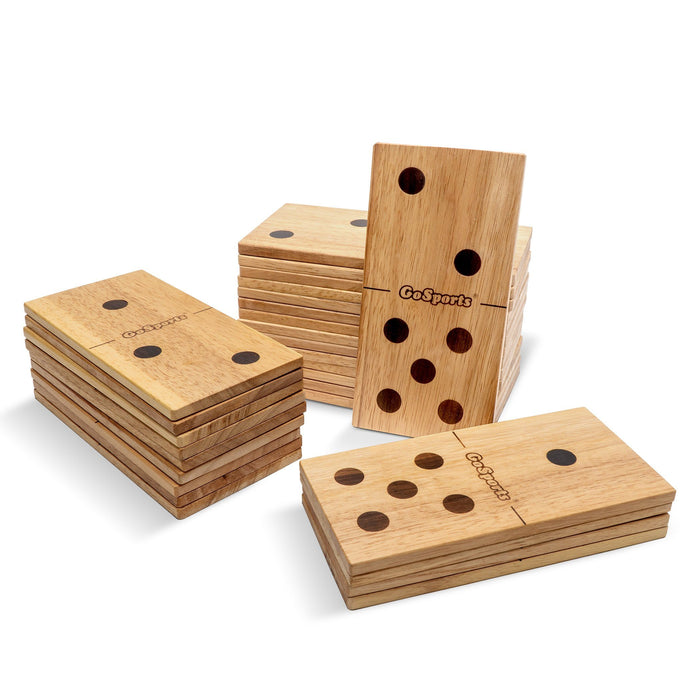 GoSports Giant Wooden Yard Dominoes Set of 28 | Jumbo Set Includes Canvas Carrying Case | Great for Outdoor Lawn Games
