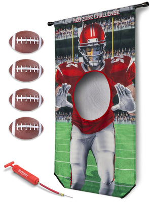 GoSports Red Zone Challenge | Includes Universal Door Frame Tension Rod, 4 Inflatable Footballs and Ball Pump Football playgosports.com