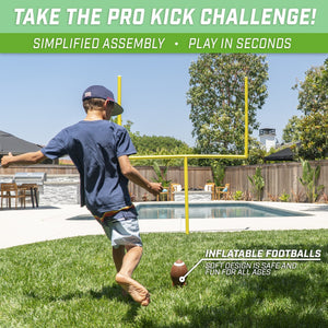 GoSports PRO Kick Challenge Field Goal Post Set with 4 Footballs and Kicking Tee | Life Sized Backyard Field Goal for Kids & Adults Football playgosports.com