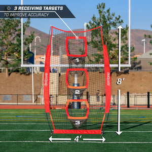 GoSports 8' x 4' Football Training Vertical Target Net | Improve QB Throwing Accuracy – Includes Foldable Bow Frame and Portable Carry Case Football playgosports.com