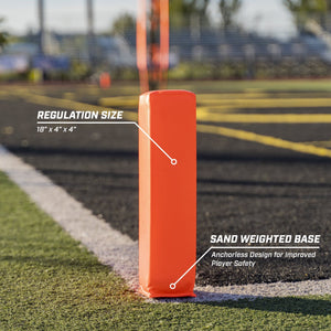 "GoSports Football End Zone Pylons | Set of 4 | Regulation 18"" x 4"" Sand Weighted Anchorless Football Field Markers Football playgosports.com"