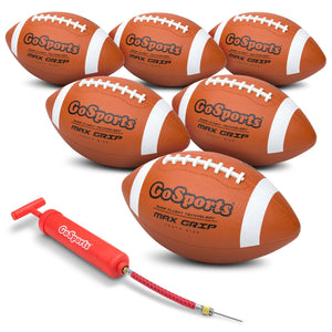 GoSports Rubber Footballs - 6 Pack of Youth Size Balls with Pump & Carrying Bag Football playgosports.com