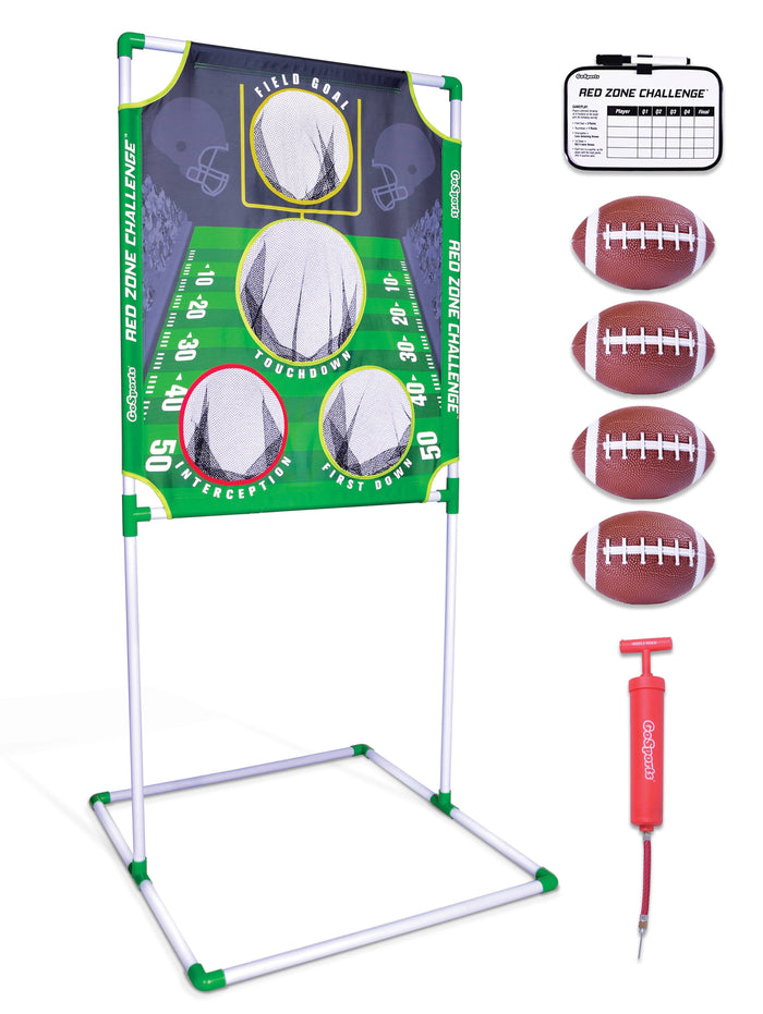 GoSports Red Zone Challenge Football Toss Game | Includes Target, 4 Footballs, Scoreboard and Case