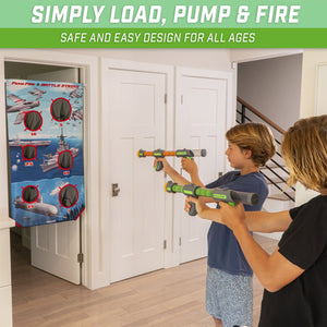 GoSports Foam Fire Battle Strike Game Set | Includes Universal Door Frame Tension Rod, Toy Blasters and Foam Balls Target Practice playgosports.com