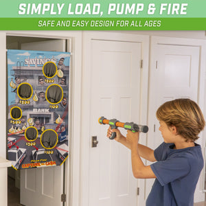 GoSports Foam Fire Capture The Cash Game Set | Includes Universal Door Frame Tension Rod, Toy Blasters and Foam Balls Target Practice playgosports.com