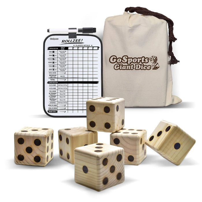 "GoSports Giant 2.5"" Wooden Playing Dice Set with Bonus Rollzee Scoreboard"