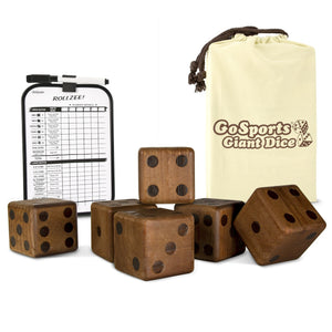 "GoSports Giant 3.5"" Dark Stain Wooden Playing Dice Set with Bonus Scoreboard (Includes 6 Dice, Dry-Erase Scoreboard and Canvas Carrying Bag) Giant Dice playgosports.com"