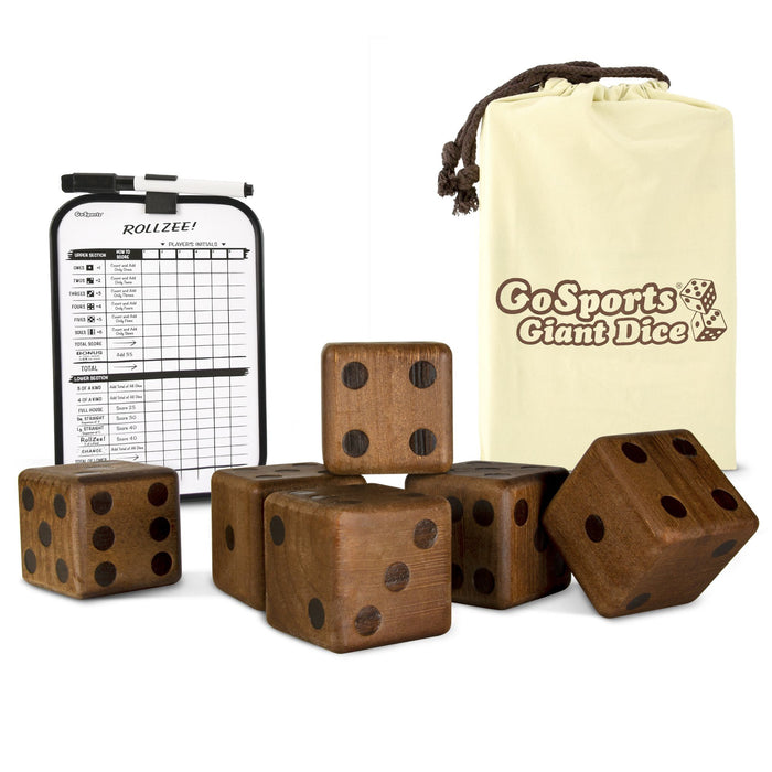 "GoSports Giant 3.5"" Dark Stain Wooden Playing Dice Set with Bonus Scoreboard"