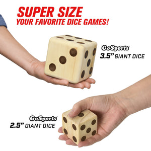 "GoSports Giant 3.5"" Wooden Playing Dice Set with Bonus Rollzee Scoreboard (Includes 6 Dice, Dry-Erase Scoreboard and Canvas Carrying Bag) Giant Dice playgosports.com"