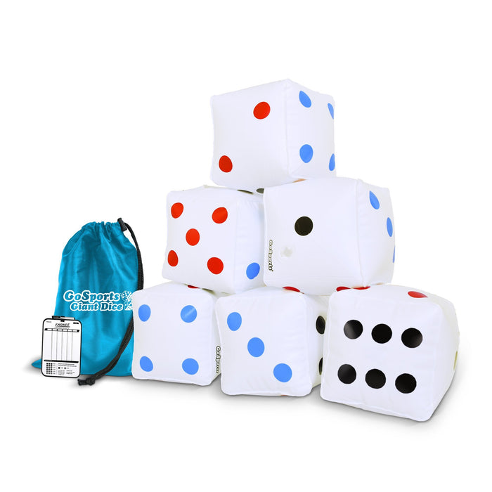"GoSports 6 Pack Giant Inflatable Dice 6 Pack with Tote Bag | 6"" Size"