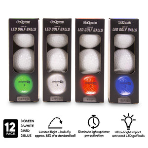 GoSports Light Up LED Golf Balls 12 Pack | Impact Activated with 10 Minute Timer Golf playgosports.com