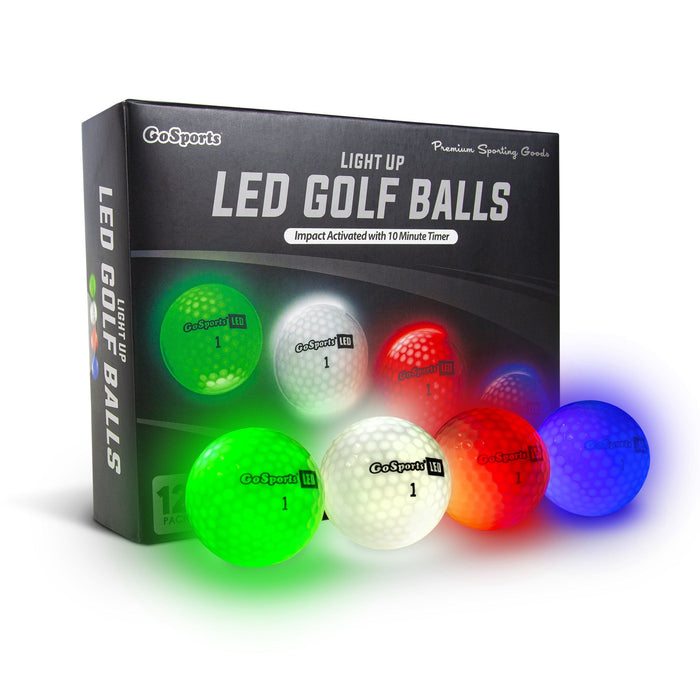 GoSports Light Up LED Golf Balls 12 Pack | Impact Activated with 10 Minute Timer