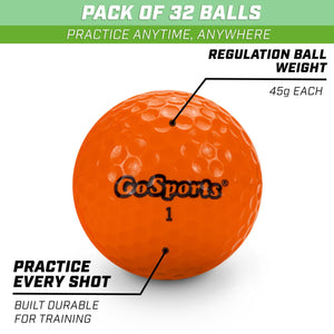 GoSports Practice Golf Balls | Pack of 32 with Canvas Tote Bag Golf playgosports.com