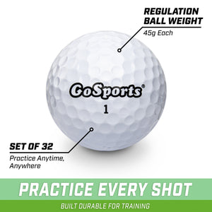 GoSports All Purpose White Golf Balls for Play or Practice | 32 Pack with Tote Bag Golf playgosports.com