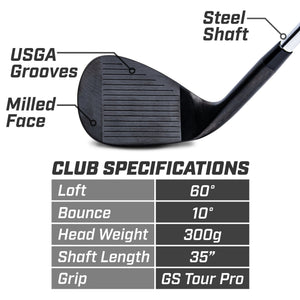 GoSports GS Tour Pro 60° Golf Club Wedge - Black Golf playgosports.com