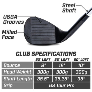 GoSports GS Tour Pro Golf Clubs Wedge Set - 52°, 56°, 60 Degree Wedges - Black Golf playgosports.com