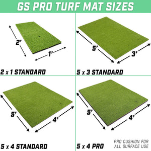 GoSports Golf Hitting Mat | PRO 5x4 Artificial Turf Mat for Indoor/Outdoor Practice | Includes 3 Rubber Tees Golf playgosports.com