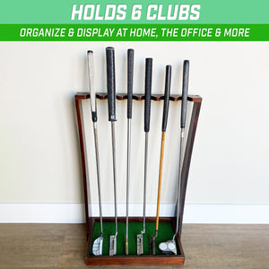 GoSports Premium Wooden Golf Putter Stand, Holds 6 Clubs Golf playgosports.com