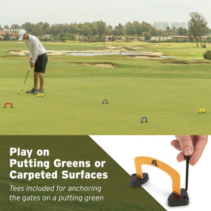 GoSports Putt-Thru Croquet Putting Game | Includes 9 Gates, 4 Golf Balls and Tote Bag | Play at Home, the Office or On the Green! Golf playgosports.com