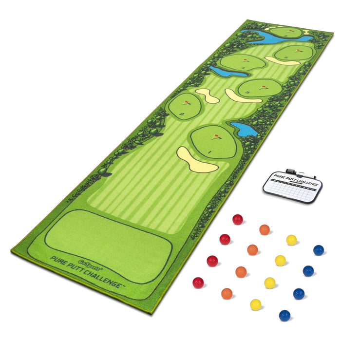 GoSports Pure Putt Challenge Mini Golf Course Putting Game | Huge 10ft Putting Green Rug with 16 Golf Balls & Scorecard