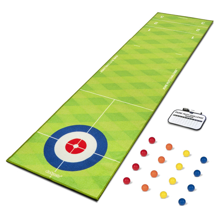 GoSports Shuffleboard / Curling Golf Putting Game | Huge 10' Putting Game with 16 Real Golf Balls
