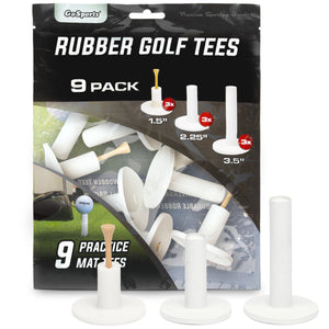 "GoSports Rubber Golf Tees 9 Pack | 3x of 1.5"", 2.25"" and 3.5"" Tees 