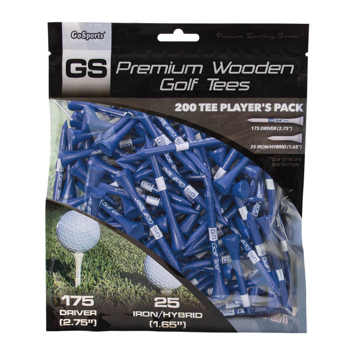 "GoSports 2.75"" Premium Wooden Golf Tees - 200 Tee Player's Pack with Driver and Iron/Hybrid Tees, Navy"