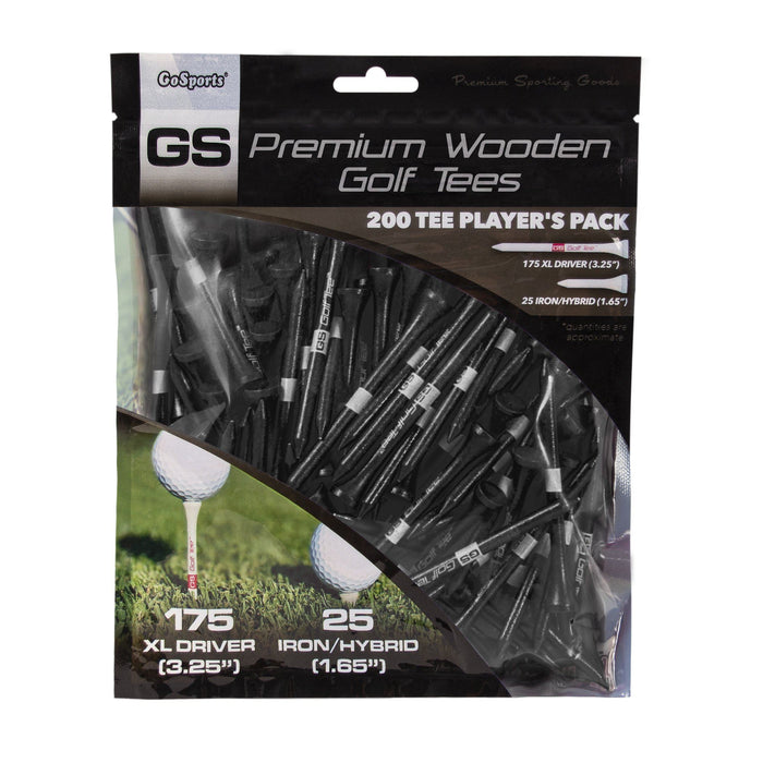 "GoSports 3.25"" XL Premium Wooden Golf Tees - 200 XL Tee Player's Pack Driver and Iron/Hybrid Tees, Black"