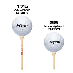 "GoSports 3.25"" XL Premium Wooden Golf Tees - 200 XL Tee Player's Pack Driver and Iron/Hybrid Tees, Natural Golf playgosports.com"