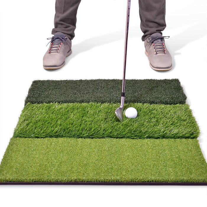 "GoSports Tri-Turf XL Golf Practice Hitting Mat | Huge 24"" x 24"" for Optimal Practice"