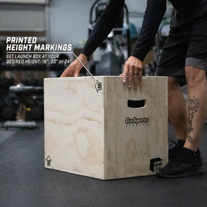 GoSports Fitness Launch Box | 3-in-1 Adjustable Height | Wood Plyo Jump Box for Exercises of All Skill Levels Cornhole playgosports.com