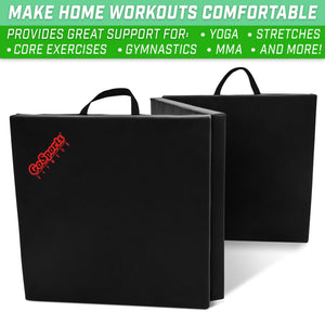 GoSports 6'x2' Tri-Fold Exercise Fitness Mat | Great for Workouts, Yoga, MMA and More playgosports.com