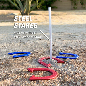 GoSports Steel Horseshoes Regulation Game Set | Includes 4 Horseshoes, 2 Stakes and Carrying Case Horseshoes playgosports.com