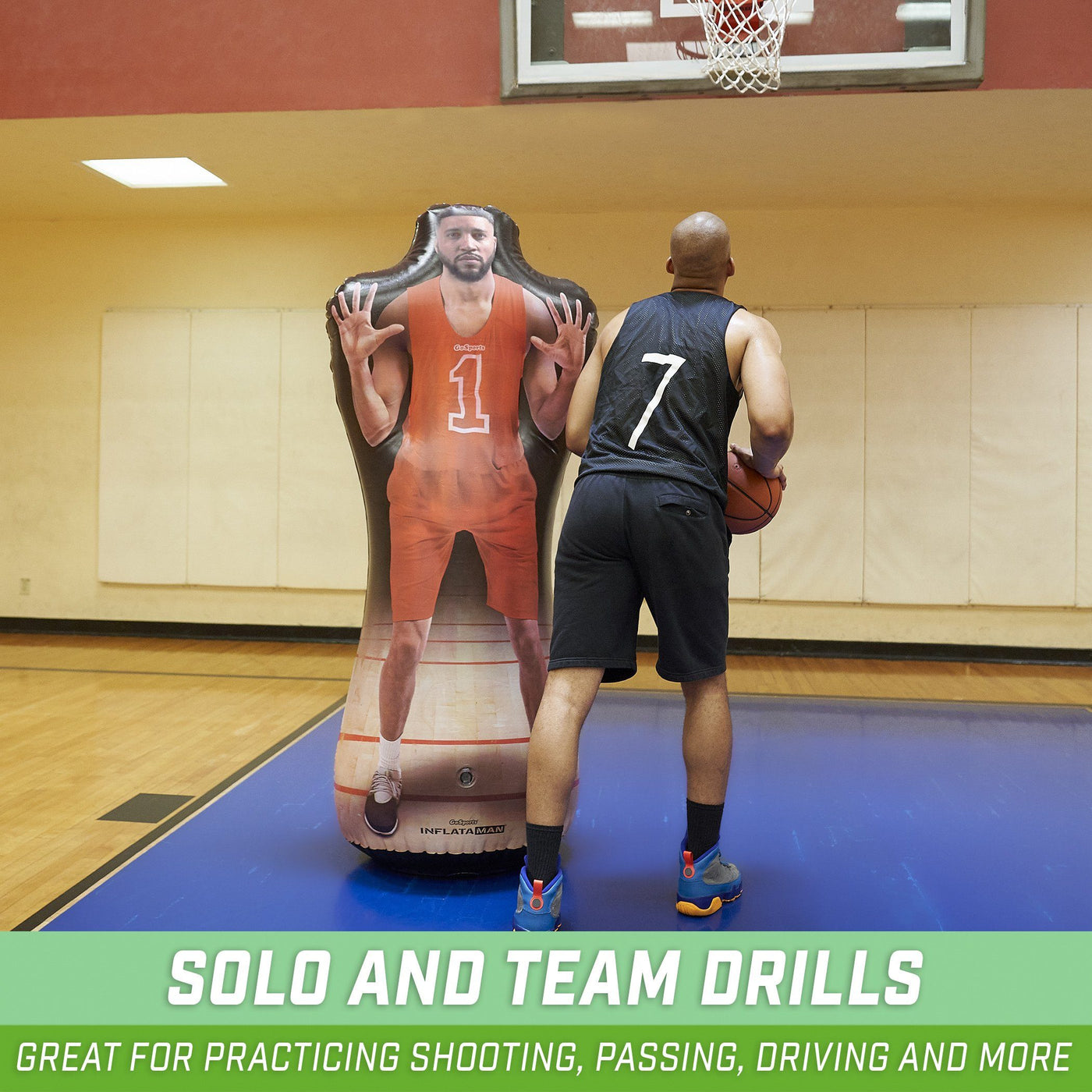 Dribbling and Driving Drills Weighted Defensive Dummy for Shooting GoSports Inflataman Basketball Defender Training Aid
