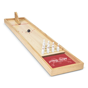 GoSports Mini Wooden Tabletop Bowling Game Set for Kids & Adults - Includes 1 Bowling Alley Board, 1 Launch Ramp, 2 Mini Bowling Balls, 10 Pins & Dry Erase Scorecard Mini Bowl playgosports.com