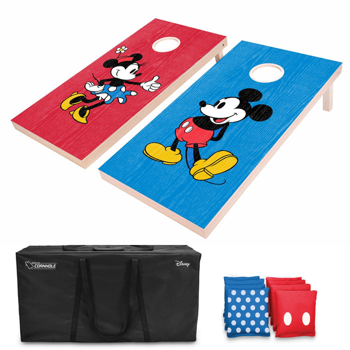 Disney Mickey & Minnie Regulation Size Cornhole Set by GoSports | Includes 8 Bean Bags and Portable Carrying Case