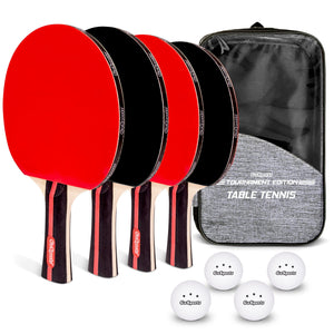 GoSports Tournament Edition Table Tennis Paddles Set of 4 | Premium Wooden Paddles with Rubber Grip - Includes 4 Paddles and 6 Pro Grade Table Tennis Balls with Carrying Case Pickle Ball playgosports.com