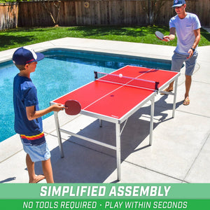 GoSports 6'x3' Mid-size Table Tennis Game Set | Indoor / Outdoor Portable Table Tennis Game with Net, 2 Table Tennis Paddles and 4 Balls Pickle Ball playgosports.com