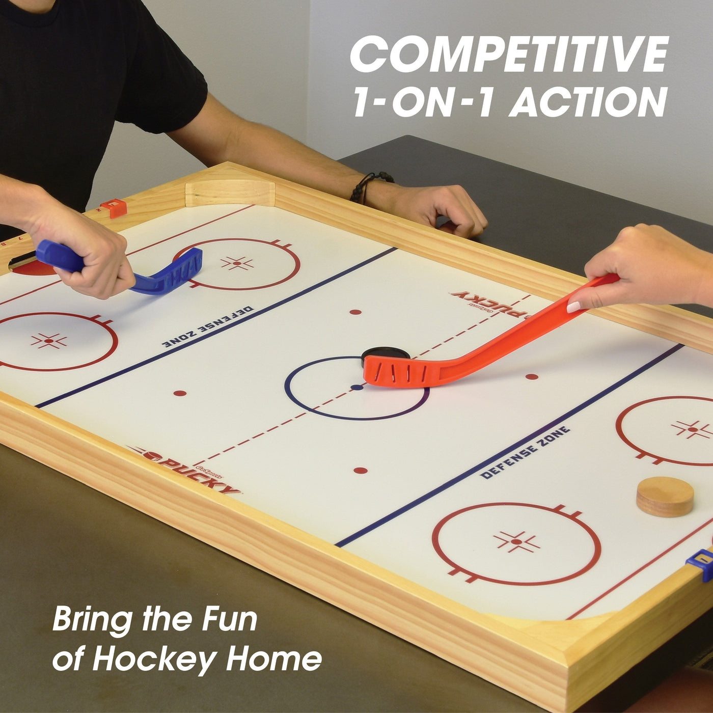 Gosports Ice Pucky Wooden Table Top Hockey Game For Kids Adults Playgosports Com
