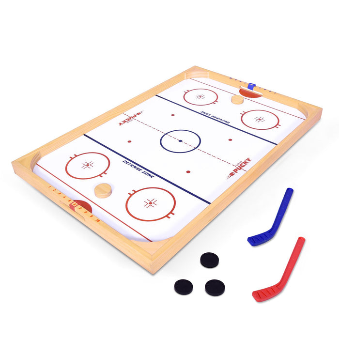 GoSports Ice Pucky Wooden Table Top Hockey Game for Kids & Adults