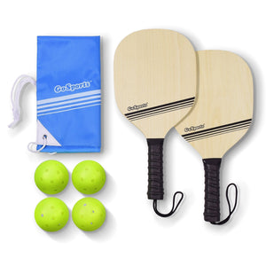 GoSports Wood Pickle Ball Starter Set - Includes 2 Wooden Paddles, 4 Official Pickleballs & Backpack Tote Pickle Ball playgosports.com