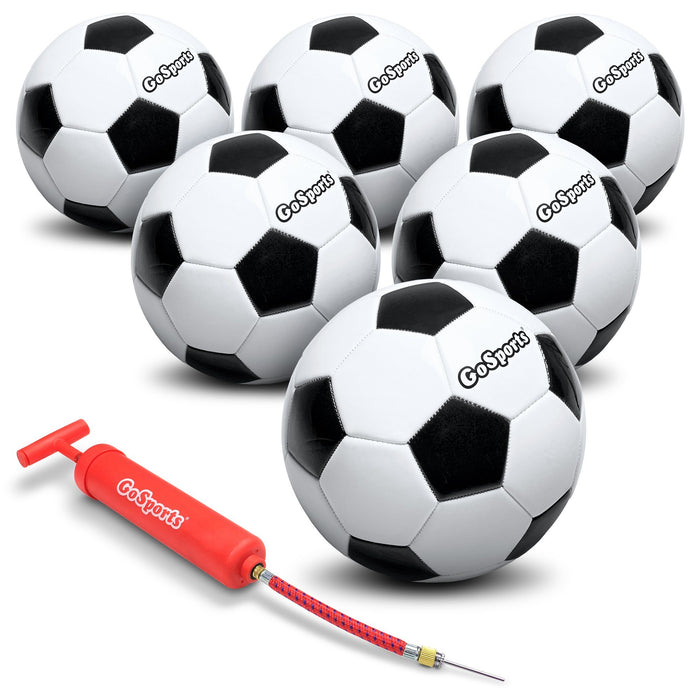 GoSports Classic Soccer Ball 6 Pack - Size 4 - with Premium Pump and Carrying Bag