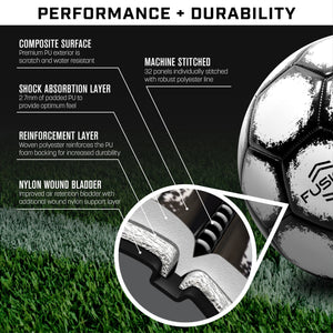 GoSports Fusion Soccer Ball with Premium Pump 6 Pack, Size 4, Black Soccer Ball playgosports.com