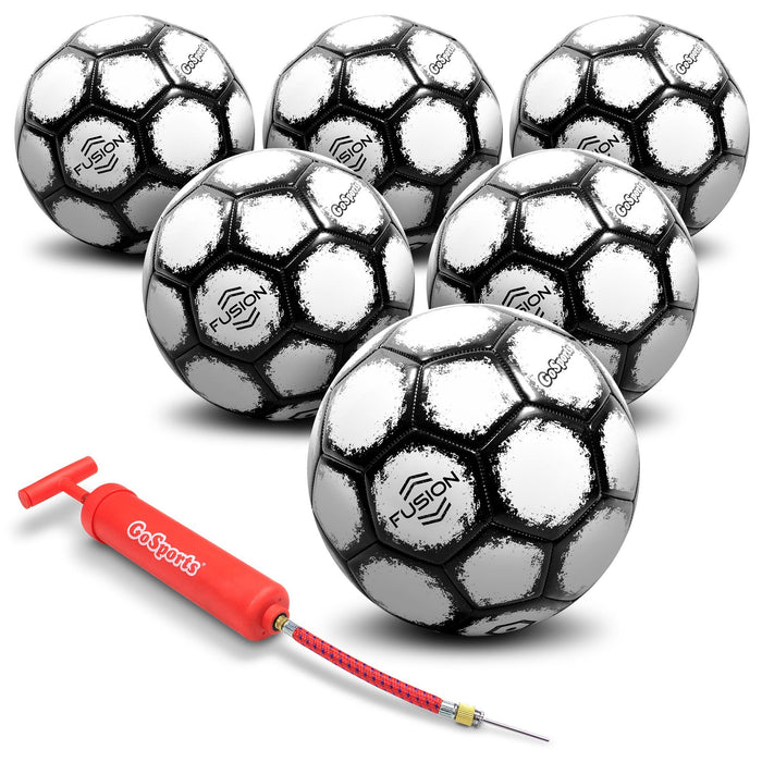 GoSports Fusion Soccer Ball with Premium Pump 6 Pack, Size 4, Black