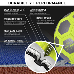 GoSports ELITE Futsal Ball - Great for Indoor or Outdoor FUTSAL Games or Practice – Choose between Single or Six Pack - Includes Pump Soccer Ball playgosports.com